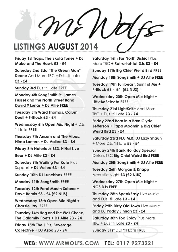 WOLFS AUGUST 2014 listings