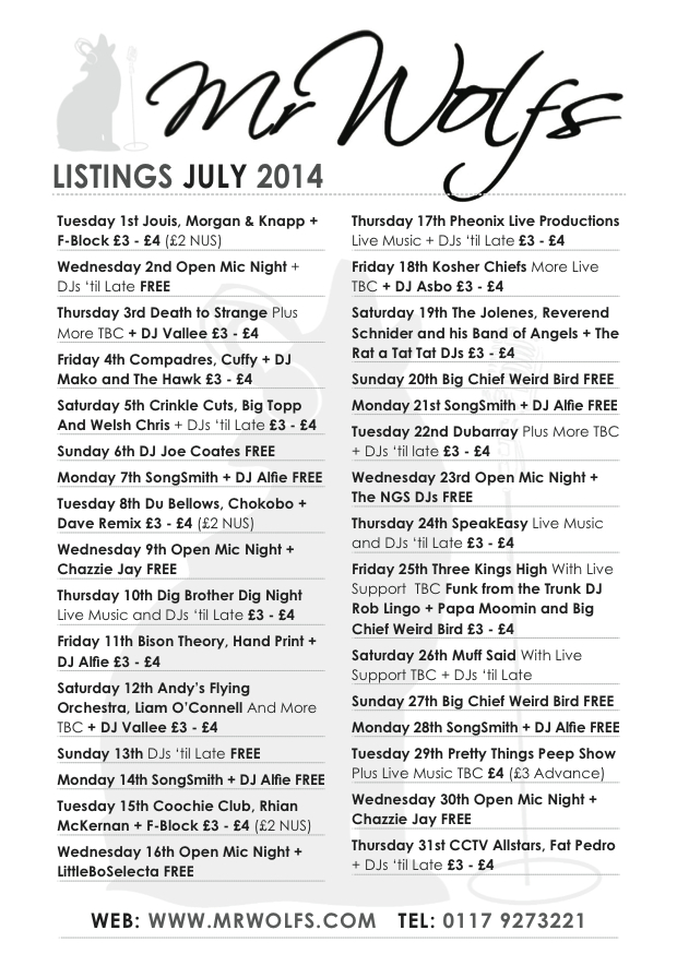 WOLFS JULY 2014 listings